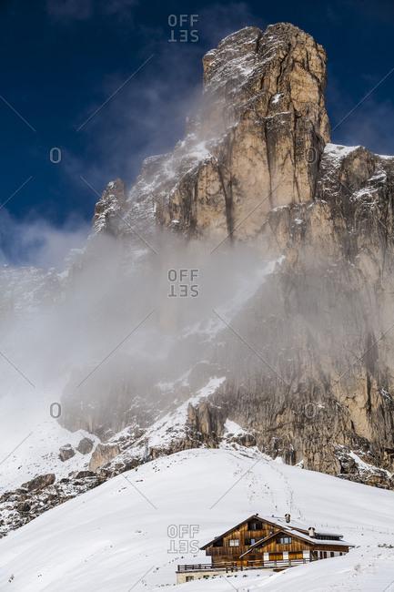 Europe, Italy, Alps, Dolomites, Mountains, View from Passo Giau, Nuvolau, Winter Dolomites
