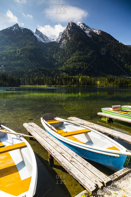 Europe, Germany, Bavaria, Hintersee, Boats on the shore, Ramsau, Berchtesgadener Land