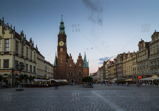 Europe, Poland, Voivodeship Lower Silesian, Wroclaw, Breslau, Market Square and Town Hall
