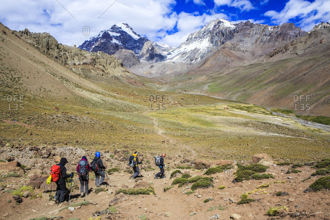December 31, 2017: Mountaineers approaching Aconcagua Base Camp, Plaza de Argentina, Mendoza, Argentina