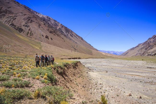 December 30, 2017: Mountaineers approaching Aconcagua Base Camp, Plaza de Argentina, Mendoza, Argentina
