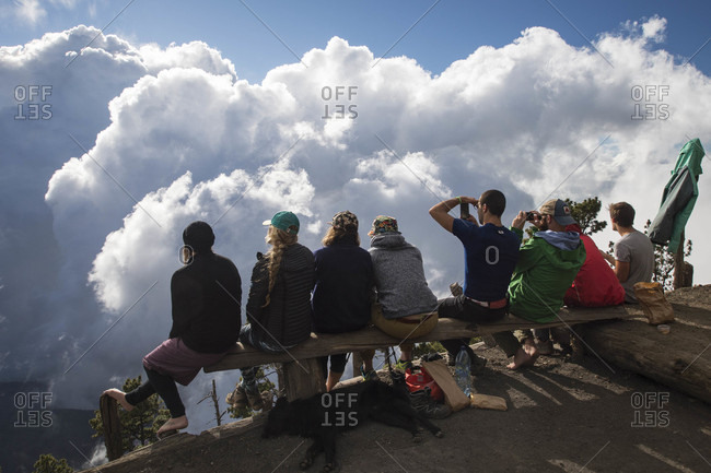 December 3, 2017: Group of hikers at summit of Acatenango Volcano, Guatemala