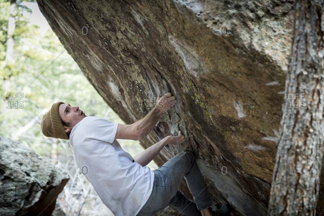 January 8, 2018: Rock climber climbing boulder, Boulder, Colorado, USA