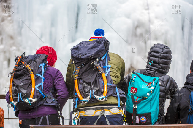 January 20, 2018: Climbers spectating ice climbing festival, Colorado, USA