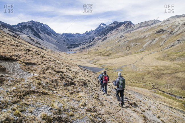 June 14, 2017: Trekking in the Cordillera Real region of the Bolivian Andes.