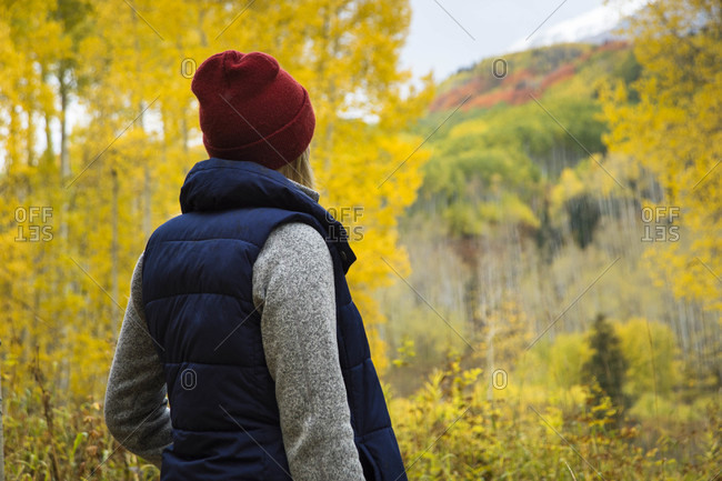 Female hiker in aspen tree forest in autumn, Crested Butte, Colorado, USA