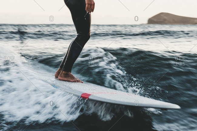 Longboard surfer in sea