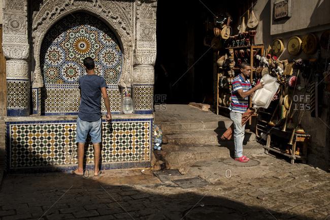 Souk Nejjarine square in Fes, Morocco