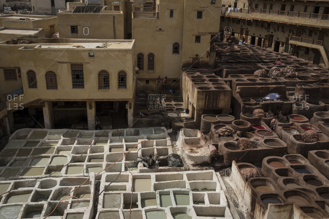 Elevated view of the Chouara Tannery in the medina of Fes, Morocco