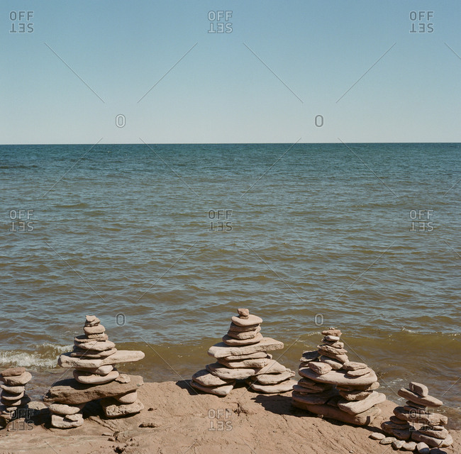 Stacked stones on the shore of Prince Edward Island