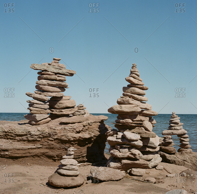 Stacked stones on the coast of Prince Edward Island