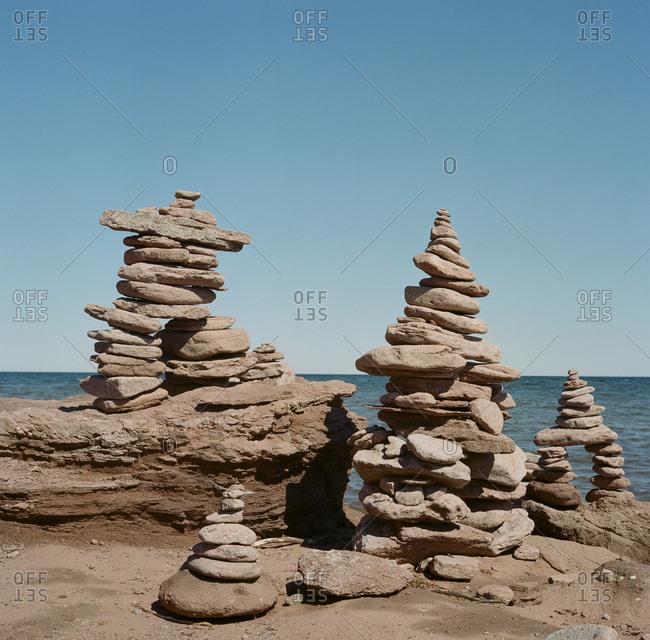 Stacked stones on the coast of Prince Edward Island