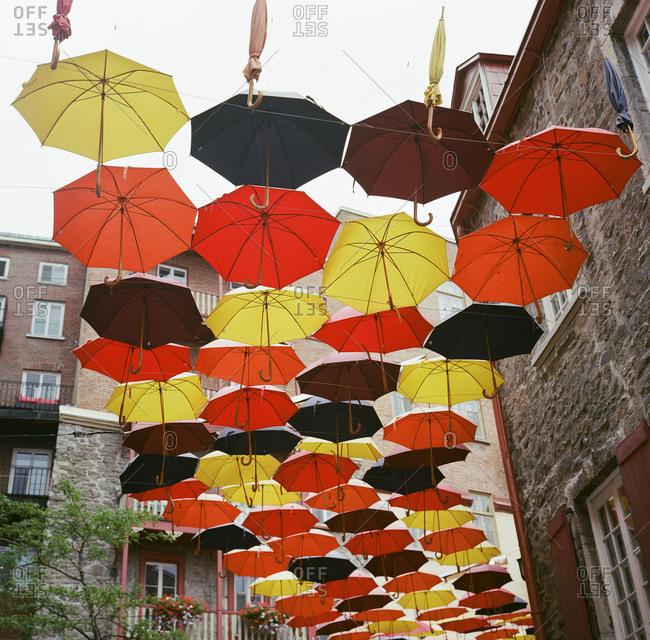Umbrellas hanging above city street