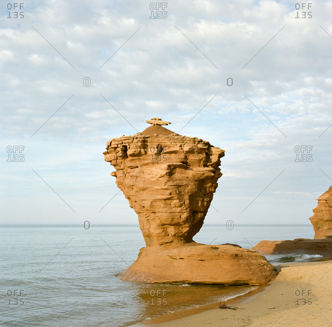 Teacup rock at Thunder Cove Beach, Prince Edward Island, Canada