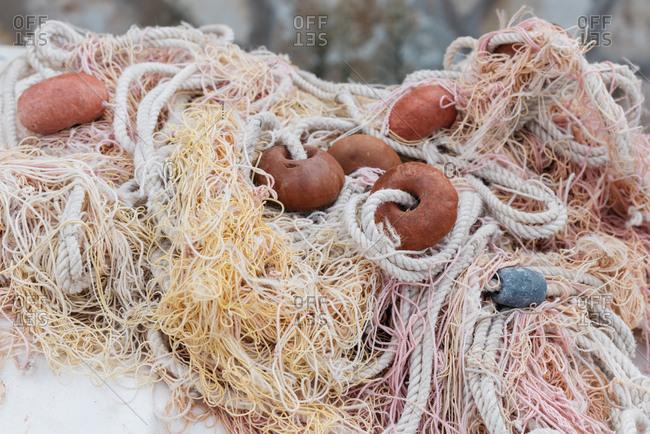 Tangled fishing nets in Marettimo, Italy