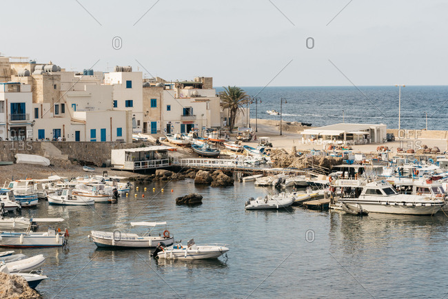 Marettimo, Italy - August 1, 2018: Fishing harbor on the coast of Marettimo