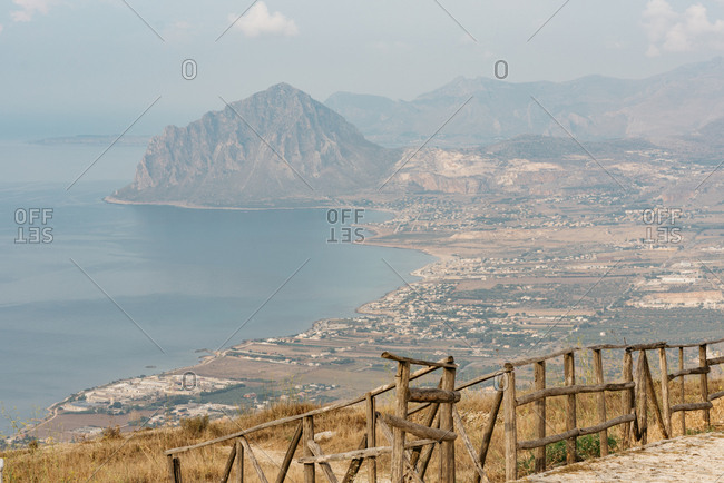 Coast and Monte Cofano in Erice, Italy