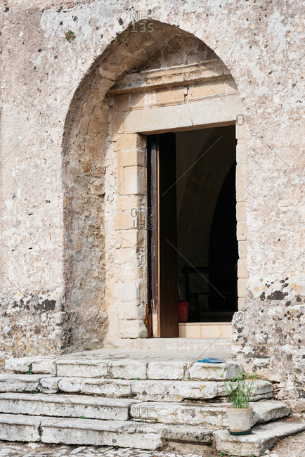 Stone building in the Spanish area of Erice, Italy