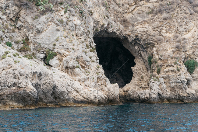 Cave on the coast of Giardini Naxos, Italy