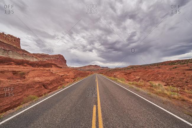 Two-lane highway in Capital Reef National Park, Utah