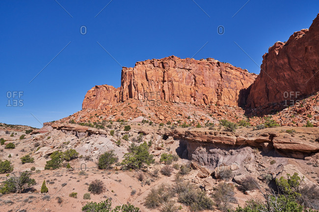 Rock formations on clear day in Capital Reef National Park, Utah