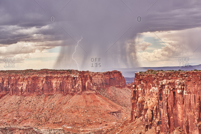 Storm clouds and lightening over Canyonlands National Park, Utah