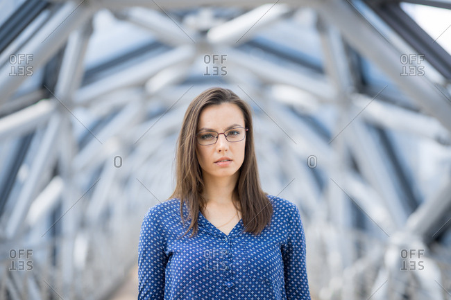 Young business woman with a serious expression