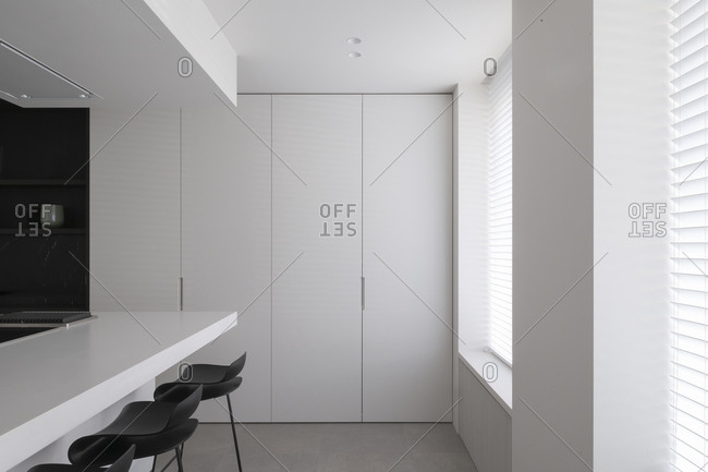 Minimalist dining area inside modern kitchen