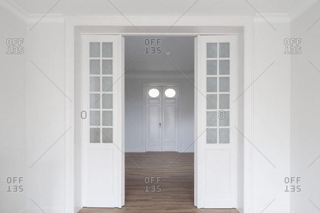 Entrance into living room of modern home