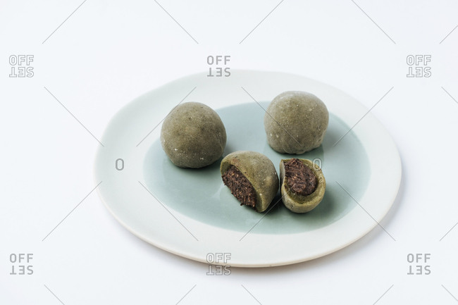 Mochi Japanese dessert whole and cut in half
