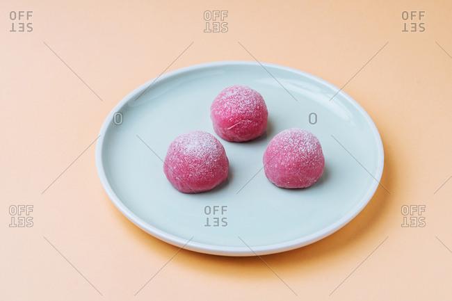 Pink mochi Japanese dessert