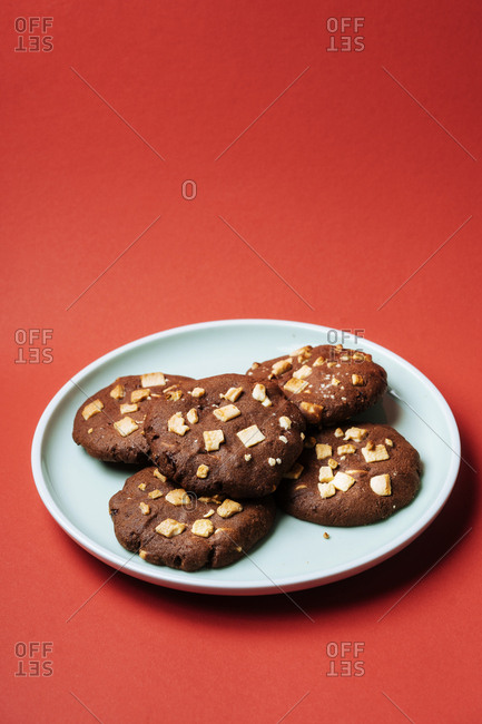 Mochi Japanese chocolate cookies on red background