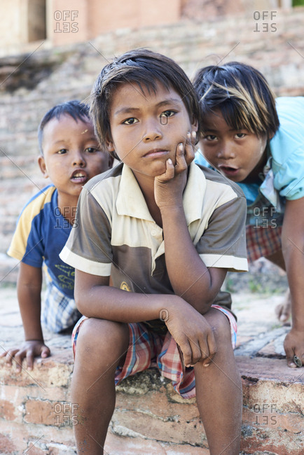 Inwa, Myanmar - November 10, 2017: Brothers portrait posing and looking at camera Having fun