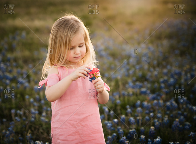 Portrait of a blonde girl holding flowers in a field