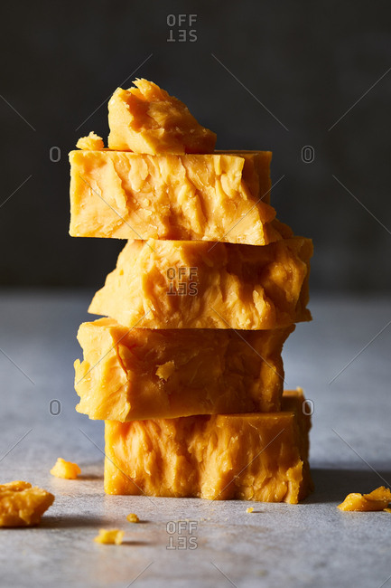 Stack of cheddar cheese