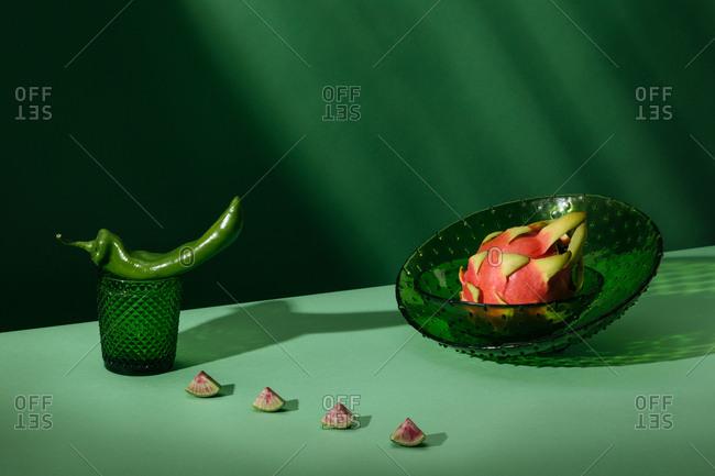 Anaheim pepper, dragon fruit pitaya and watermelon radish
