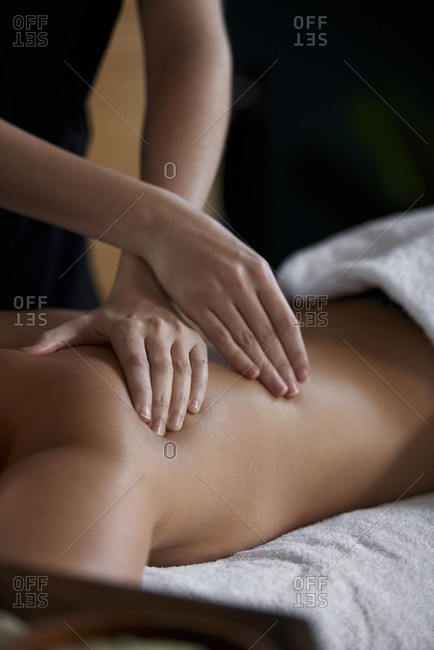 Close up of back massage at a spa