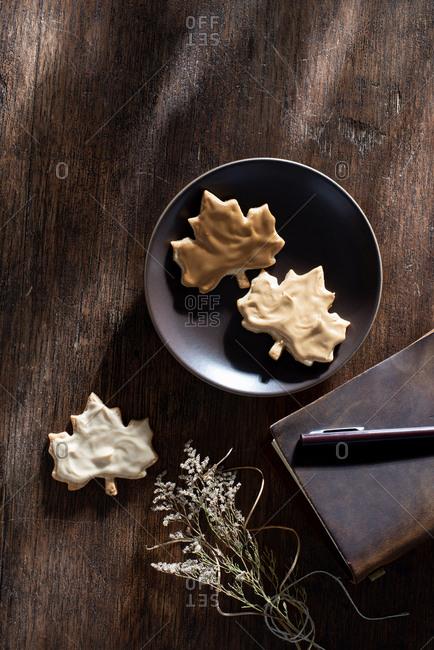 Maple Leaf Glazed Autumn Cookies