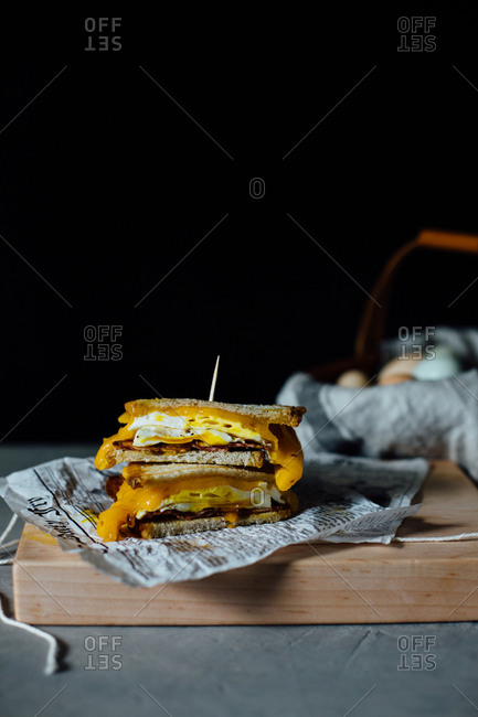 Stacked breakfast panini