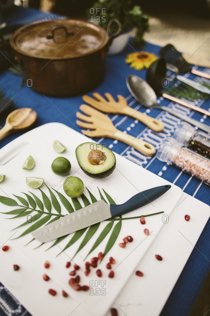 Flat-lay of stylized cooking supplies on a picnic table