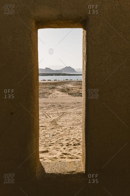View of lake powell through southwestern adobe window