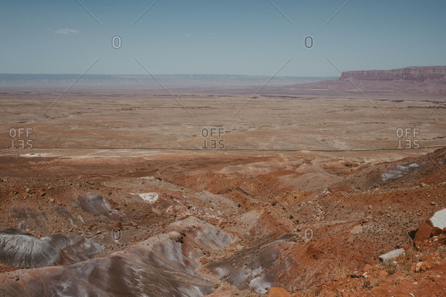Road and open red rock desert landscape, Utah