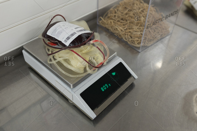 Blood bag on weighing scale machine in blood bank