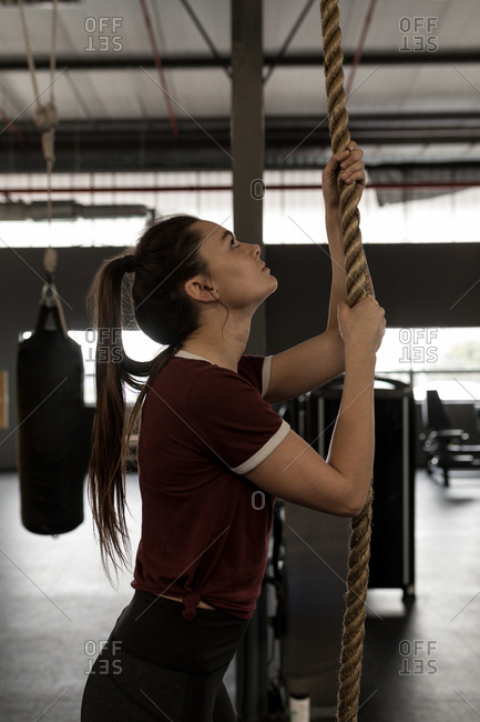 young woman doing rope climbing exercise in fitness gym stock photo