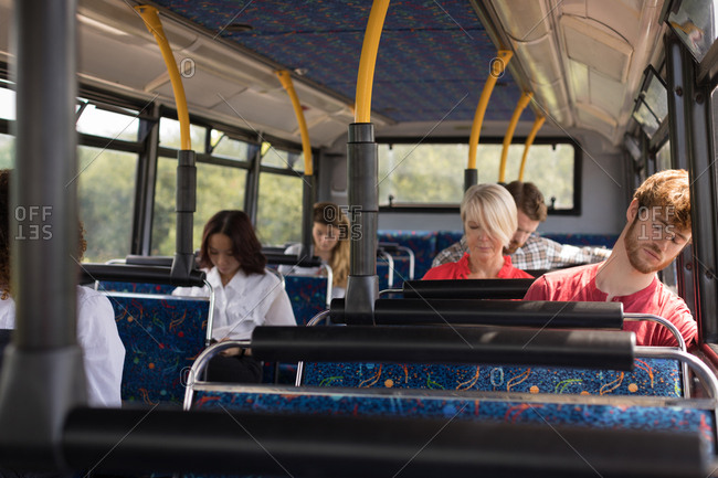 Commuters travelling in modern bus