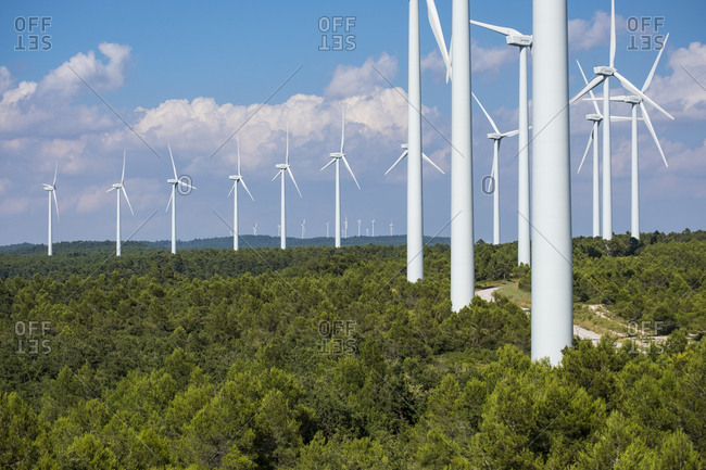 Wind turbine power generators in the province of Lerida in Catalonia Spain