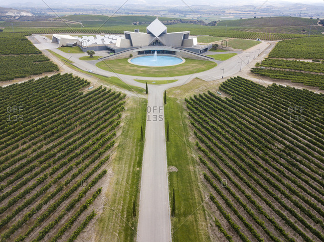 Aerial view of the modern wineries of Sommos wines and their vineyards in the province of Huesca in Aragon Spain Europe