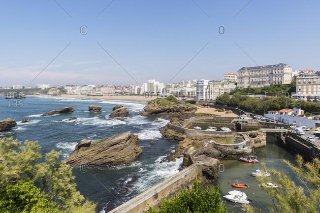 May 22, 2018: Port des Pecheurs marina and city center, Biarritz, France