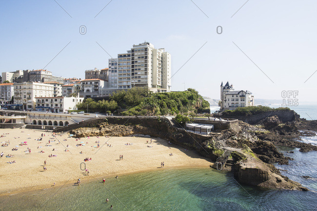 May 22, 2018: People at the beach beach of Port Vieux, Biarritz, France