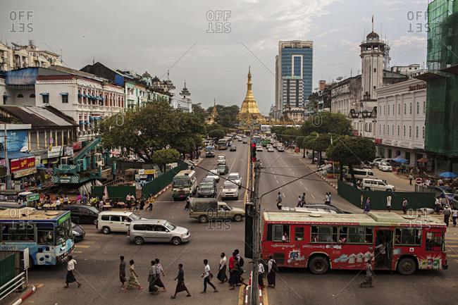 Yangon, Myanmar - Oct 26, 2015: A view of downtown Yangon, Myanmar